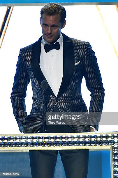 Alexander Skarsgard speaks onstage to present Menswear Designer of the Year at the 2016 CFDA Fashion Awards at the Hammerstein Ballroom on June 6,...