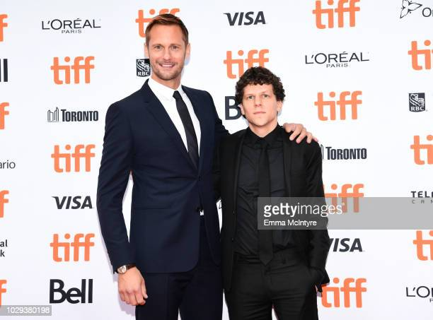 Alexander Skarsgård and Jesse Eisenberg attend the The Hummingbird Project premiere during 2018 Toronto International Film Festival at Princess of...