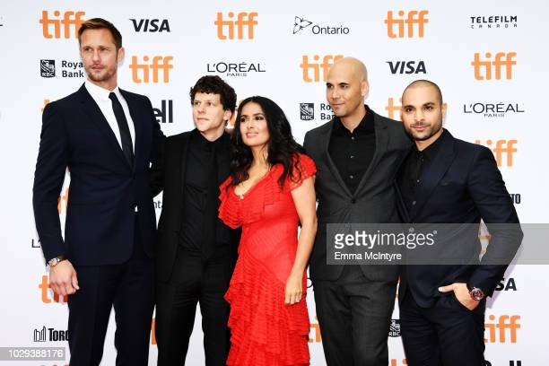 Alexander Skarsgård Jesse Eisenberg Salma Hayek Kim Nguyen and Michael Mando attend the 'The Hummingbird Project' premiere during 2018 Toronto...