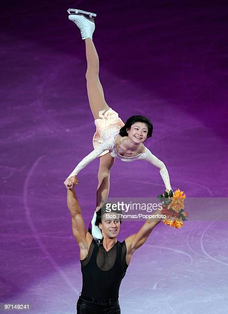 Alexander Smirnov and Yuko Kavaguti of Russia perform at the Exhibition Gala following the Olympic figure skating competition at Pacific Coliseum on...