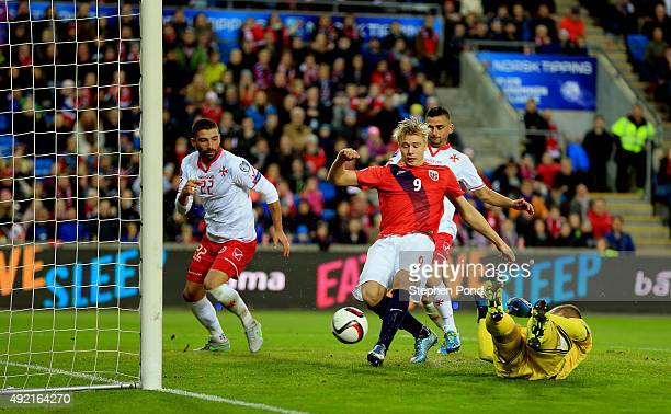 Alexander Soderlund of Norway scores his sides second goal during the UEFA EURO 2016 Qualifying match between Norway and Malta at Ullevaal Stadion on...