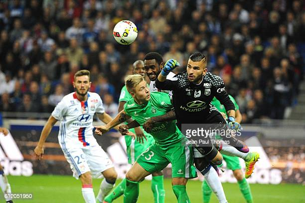 Alexander Soderlund of Saint Etienne and Anthony Lopes of Lyon during the Ligue 1 match between Olympique Lyonnais and AS SaintEtienne at Stade des...