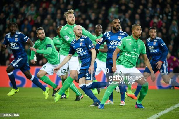 Alexander Soderlund of Saint Etienne and Kevin Monnet Paquet of Saint Etienne and Christophe Jallet Alexandre Lacazette of Lyon during the Ligue 1...