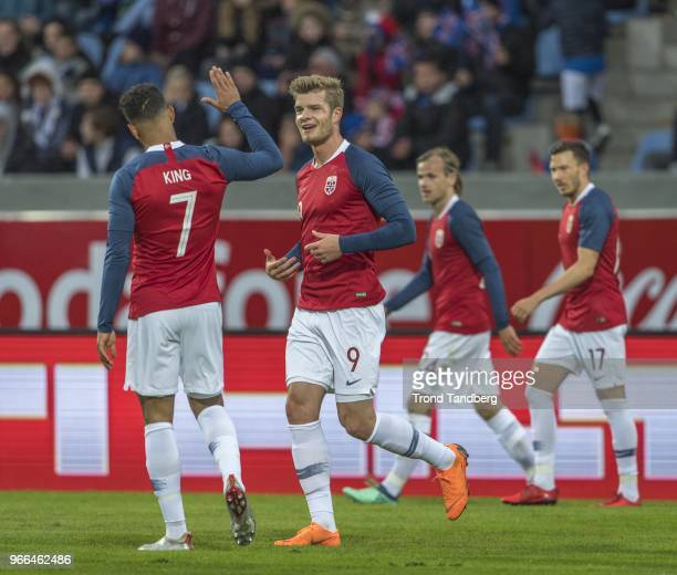 Alexander Soerloth Joshua King of Norway celebrate goal during International Friendly between Iceland v Norway at Laugardalsvollur National Stadium...