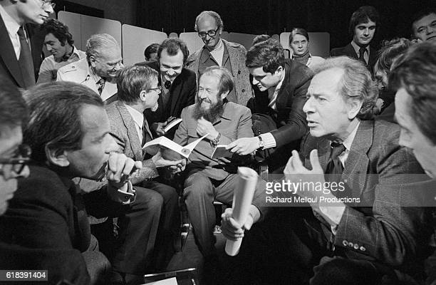 Alexander Solzhenitsyn appears on French television's literary program Apostrophes alongside French author Jean d'Ormesson and JeanDaniel