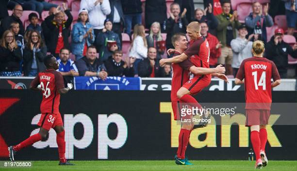 Alexander Sorloth and Rasmus Nissen of FC Midtjylland celebrate after scoring their third goal during the UEFA Europa League Qualification match...