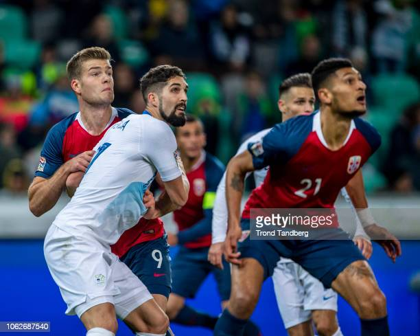 Alexander Sorloth Bjorn Maars Johnsen of Norway during the UEFA Nations League C group three match between Slovenia and Norway at Stadion Stozice on...
