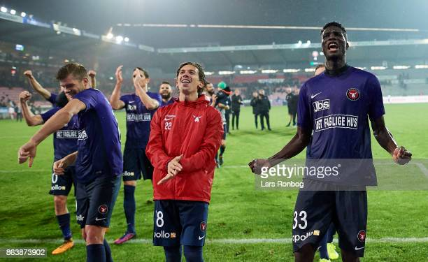 Alexander Sorloth Gustav Wikheim and Paul Onuachu of FC Midtjylland celebrate after the Danish Alka Superliga match between FC Midtjylland and AC...