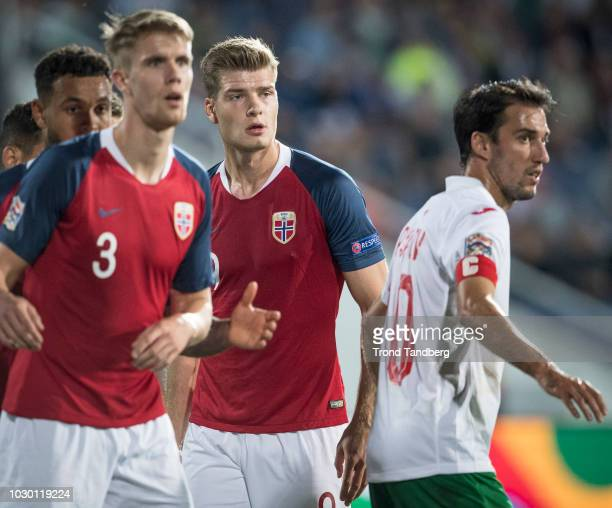Alexander Sorloth Kristoffer Ajer of Norway during the UEFA Nations League C group three match between Bulgaria and Norway at Vasil Levski National...