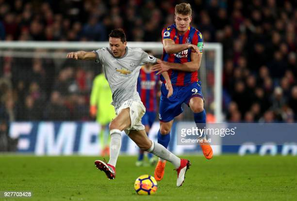 Alexander Sorloth of Crystal Palace and Nemanja Matic of Manchester United inb action during the Premier League match between Crystal Palace and...