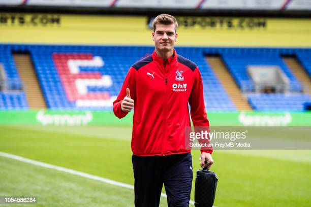 Alexander Sorloth of Crystal Palace arrived for the Premier League match between Crystal Palace and Arsenal FC at Selhurst Park on October 28 2018 in...