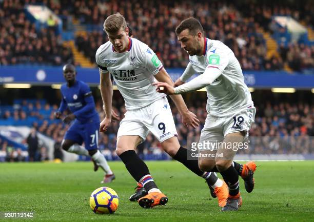 Alexander Sorloth of Crystal Palace runs with the ball alongside James McArthur of Crystal Palace during the Premier League match between Chelsea and...