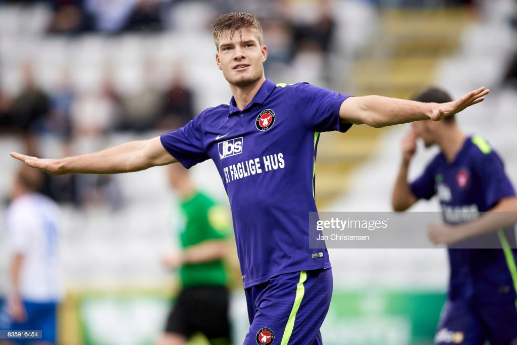 Alexander Sorloth of FC Midtjylland celebrate after his 0-1 goal during the Danish Alka Superliga match between OB Odense and FC Midtjylland at TREFOR Park on August 20, 2017 in Odense, Denmark.