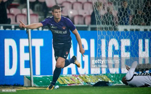 Alexander Sorloth of FC Midtjylland celebrates after scoring their first goal during the Danish Alka Superliga match between FC Midtjylland and AC...