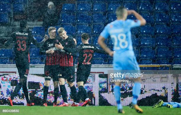 Alexander Sorloth of FC Midtjylland celebrates after scoring their first goal during the Danish Alka Superliga match between Randers FC and FC...