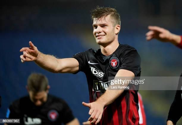 Alexander Sorloth of FC Midtjylland celebrates after the Danish Alka Superliga match between Sonderjyske and FC Midtjylland at Sydbank Park on...