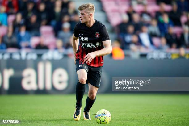 Alexander Sorloth of FC Midtjylland controls the ball during the Danish Alka Superliga match between FC Midtjylland and AaB Aalborg at MCH Arena on...