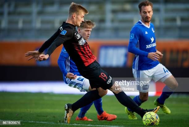 Alexander Sorloth of FC Midtjylland controls the ball during the Danish Alka Superliga match between Lyngby BK and FC Midtjylland at Lyngby Stadion...