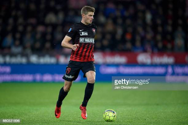 Alexander Sorloth of FC Midtjylland controls the ball during the Danish Alka Superliga match between FC Midtjylland and AGF Arhus at MCH Arena on...