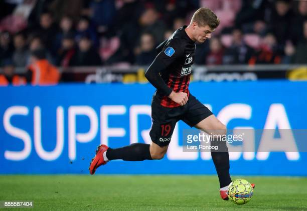 Alexander Sorloth of FC Midtjylland controls the ball during the Danish Alka Superliga match between FC Midtjylland and OB Odense at MCH Arena on...