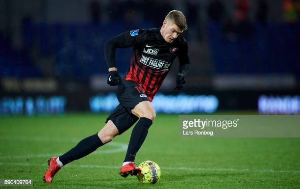 Alexander Sorloth of FC Midtjylland controls the ball during the Danish Alka Superliga match between Randers FC and FC Midtjylland at BioNutria Park...