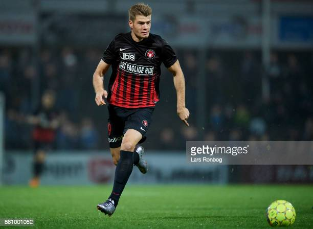 Alexander Sorloth of FC Midtjylland in action during the Danish Alka Superliga match between Sonderjyske and FC Midtjylland at Sydbank Park on...