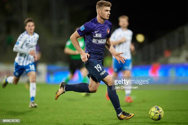 Alexander Sorloth of FC Midtjylland in action during the Danish Cup DBU Pokalen match between OB Odense and FC Midtjylland at TREFOR Park on October...