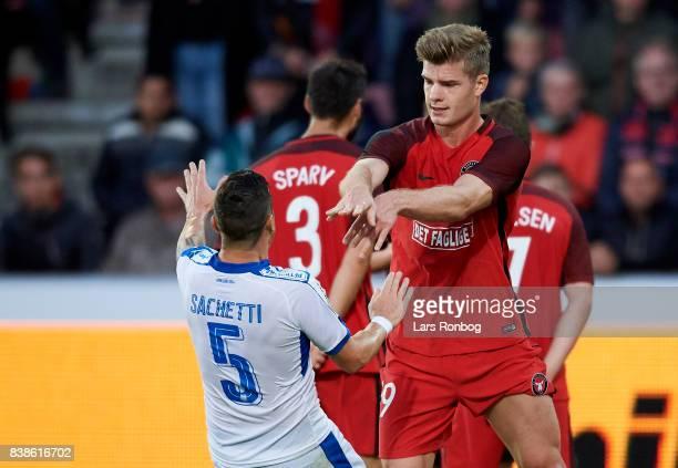 Alexander Sorloth of FC Midtjylland pushing Esteban Sachetti of Apollon Limassol FC during the UEFA Europa League Playoff 2nd Leg match between FC...