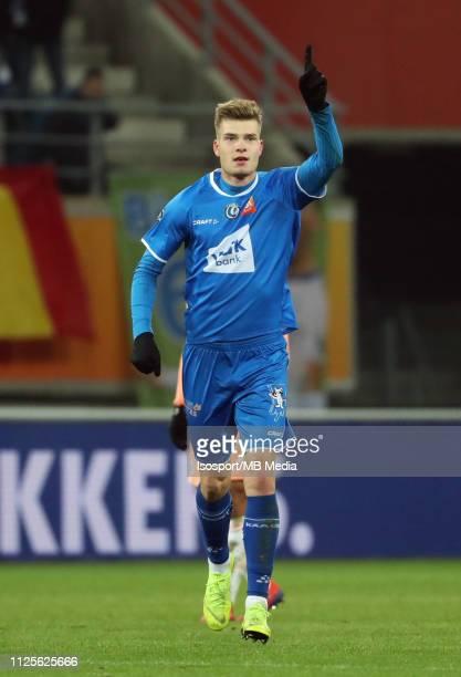 Alexander Sorloth of Kaa Gent celebrates after scoring a goal during the Jupiler Pro League match between KAA Gent and RSC Anderlecht at Ghelamco...