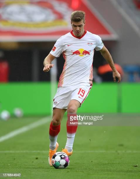 Alexander Sorloth of Leipzig controls the ball during the Bundesliga match between Bayer 04 Leverkusen and RB Leipzig at BayArena on September 26...