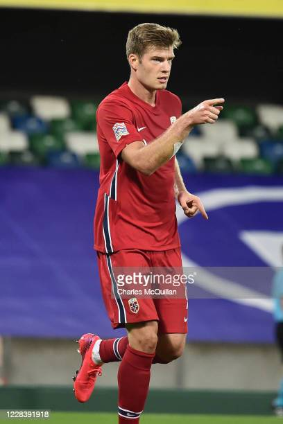 Alexander Sorloth of Norway celebrates after scoring during the UEFA Nations League group stage match between Northern Ireland and Norway at National...