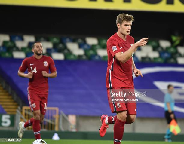 Alexander Sorloth of Norway celebrates after scoring their third goal during the UEFA Nations League group stage match between Northern Ireland and...