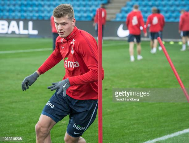 Alexander Sorloth of Norway during training before the UEFA Nations League C group three match between Norway and Bulgaria at Ullevaal Stadion on...