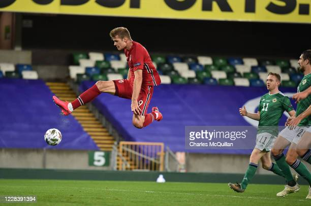 Alexander Sorloth of Norway scores the third goal during the UEFA Nations League group stage match between Northern Ireland and Norway at National...