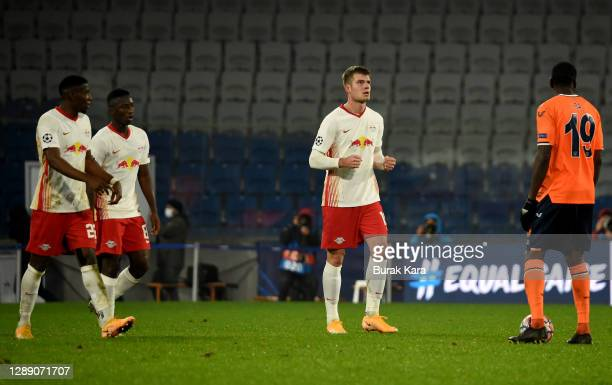 Alexander Sorloth of RB Leipzig celebrates after scoring their sides fourth goal during the UEFA Champions League Group H stage match between...