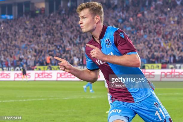 Alexander Sorloth of Trabzonspor AS celebrate his goal during the Turkish Spor Toto Super Lig match between Trabzonspor AS and Besiktas AS at the...