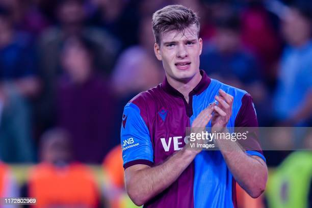 Alexander Sorloth of Trabzonspor AS during the Turkish Spor Toto Super Lig match between Trabzonspor AS and Besiktas AS at the Senol Gunes stadium on...
