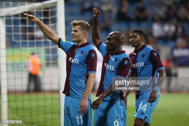 Alexander Sorloth of Trabzonspor celebrates after scoring a goal during Turkish Super Lig soccer match between Kasimpasa and Trabzonspor at Recep...