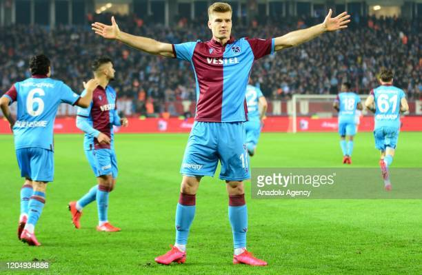Alexander Sorloth of Trabzonspor celebrates after scoring a goal during Ziraat Turkish Cup semifinal first leg match between Trabzonspor and...