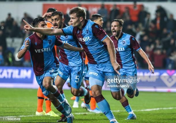 Alexander Sorloth of Trabzonspor celebrates with his teammates after scoring a goal during Turkish Super Lig soccer match between Medipol Basaksehir...
