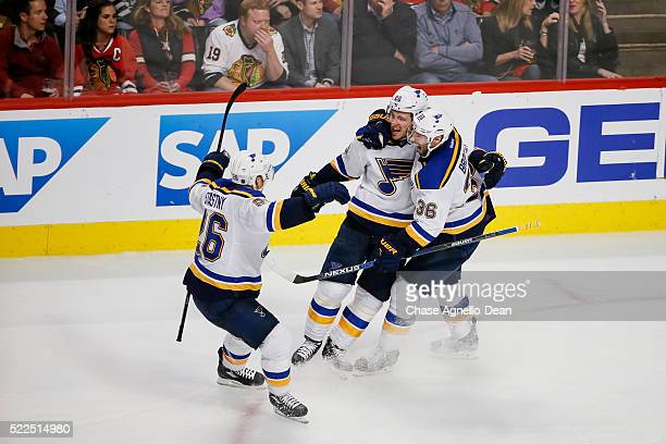 Alexander Steen and Troy Brouwer of the St. Louis Blues celebrate after Steen scored against the Chicago Blackhawks in the third period of Game Four...
