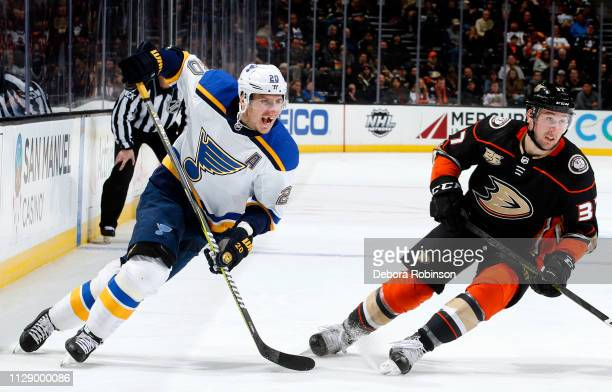 Alexander Steen of the St. Louis Blues and Nick Ritchie of the Anaheim Ducks skate during the game on March 6, 2019 at Honda Center in Anaheim,...