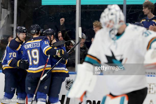 Alexander Steen of the St Louis Blues celebrates with his teammates after scoring a goal on Martin Jones of the San Jose Sharks during the second...