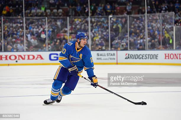 Alexander Steen of the St Louis Blues controls the puck during the 2017 Bridgestone NHL Winter Classic at Busch Stadium on January 2 2017 in St Louis...