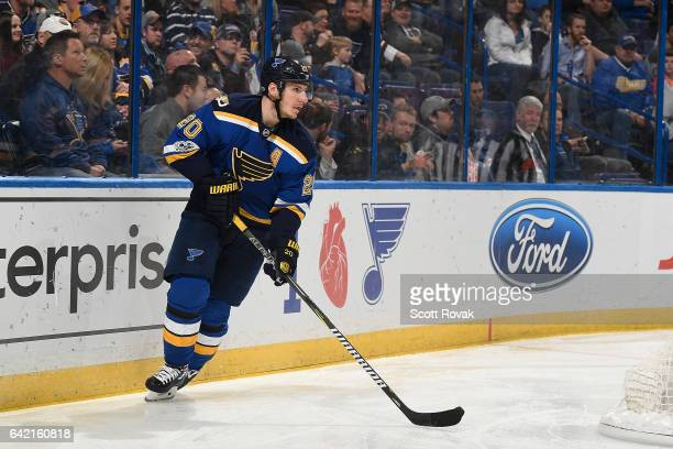 Alexander Steen of the St Louis Blues handles the puck against the Vancouver Canucks on February 16 2017 in St Louis Missouri