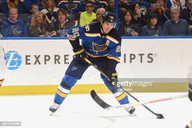 Alexander Steen of the St Louis Blues makes a pass against the Anaheim Ducks on March 10 2017 at Scottrade Center in St Louis Missouri