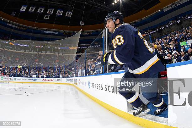 Alexander Steen of the St Louis Blues runs on to the ice before a game against the Washington Capitals at the Scottrade Center on April 9 2016 in St...