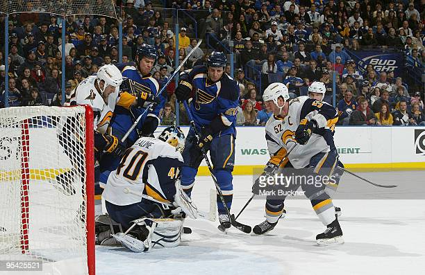 Alexander Steen of the St. Louis Blues scores his second goal of the game off of Patrick Lalime of the Buffalo Sabres on December 27, 2009 at...