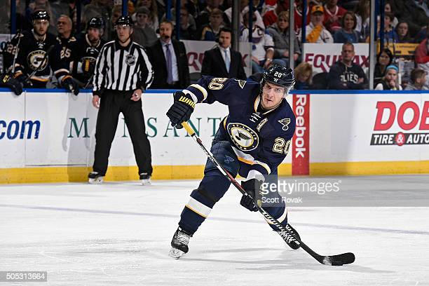Alexander Steen of the St Louis Blues shoots against the Montreal Canadiens at the Scottrade Center on January 16 2016 in St Louis Missouri