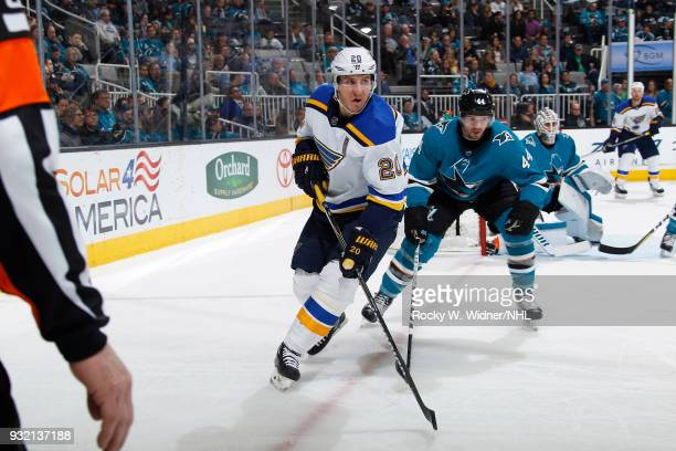 Alexander Steen of the St Louis Blues skates against MarcEdouard Vlasic of the San Jose Sharks at SAP Center on March 8 2018 in San Jose California...
